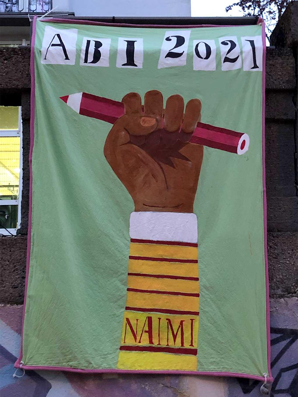 Abi-Banner in Frankfurt - Black-Power Faust