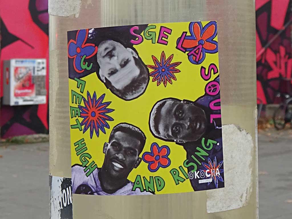 Okocha Records - Aufkleber De LA Soul mit Bein, Okocha und Yeboah