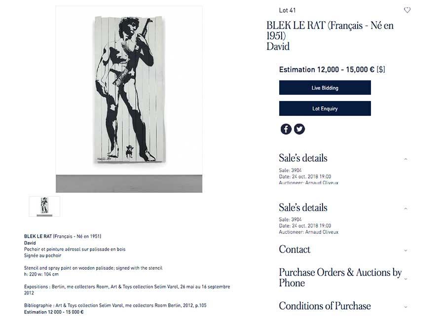 Streeatrt-Kunstwerke bei einer Auktion