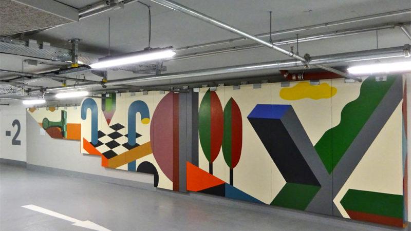 Großes Wandbild von Benno Walldorf im Dom-Römer-Parkhaus in Frankfurt