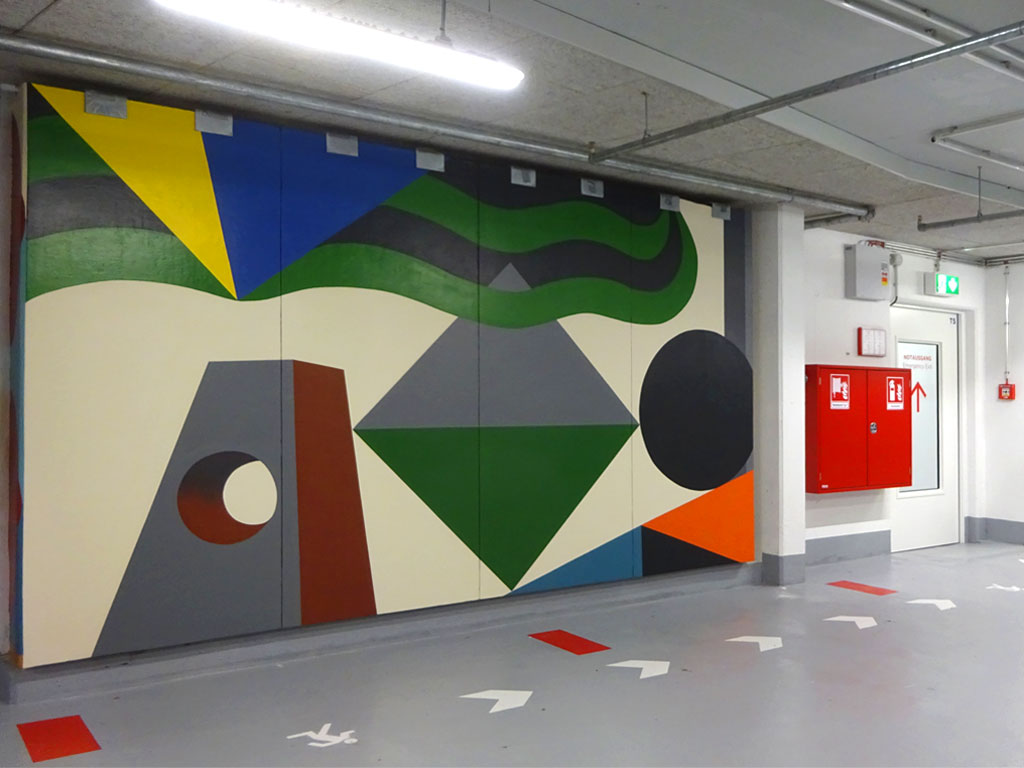 Kleines Wandbild von Benno Walldorf im Dom-Römer-Parkhaus in Frankfurt