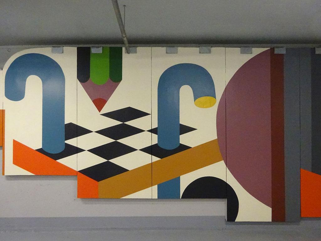 Detail des großes Wandbildes von Benno Walldorf im Dom-Römer-Parkhaus in Frankfurt