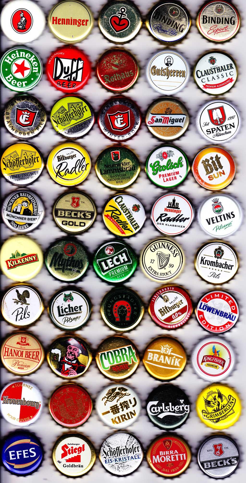 Foto mit 50 Bier-Kronkorken