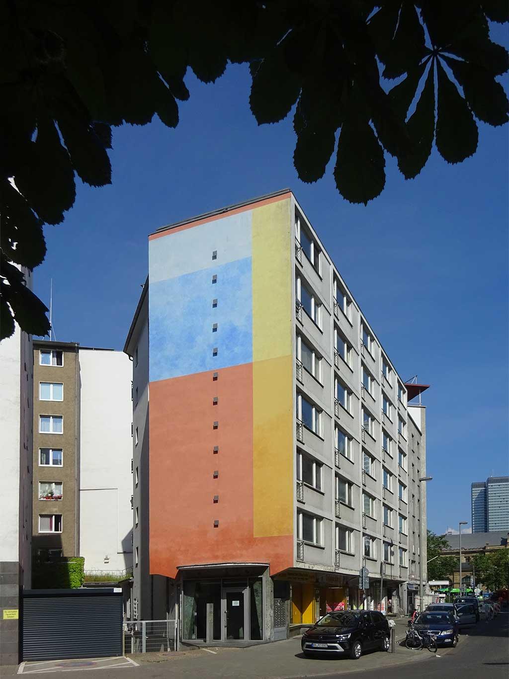 Stadtbilder Frankfurt - Bunte Hausfassade am Wieshüttenplatz in Frankfurt