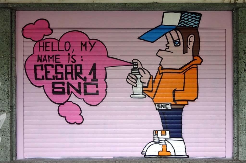 Graffitikunst von Cesar One am Frankfurter Hof