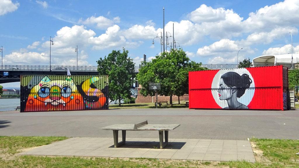 Graffiti einer Katze und einer Frau auf Containern in Mainz-Kastel