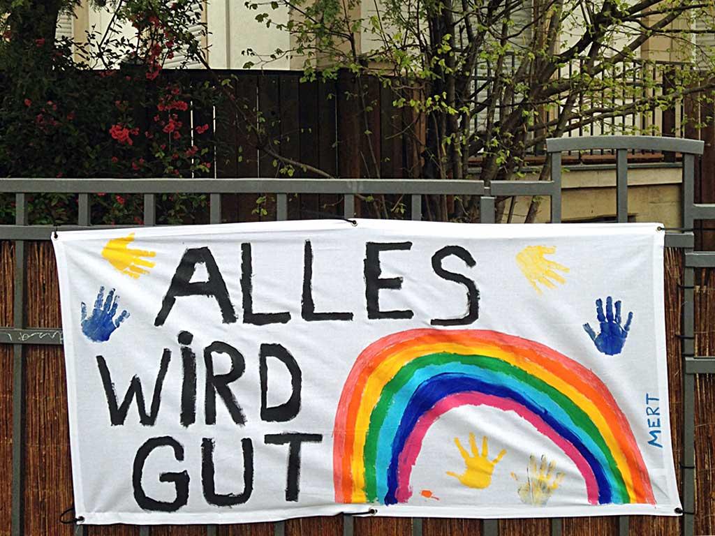 Corona in Frankfurt - Banner: Alles wird gut