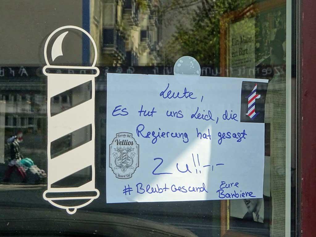 Corona in Frankfurt - Barber Shop geschlossen
