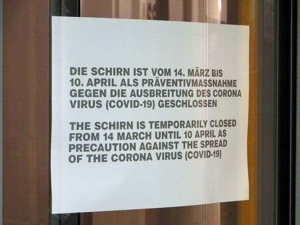 Corona in Frankfurt - Schirn Kunsthalle geschlossen
