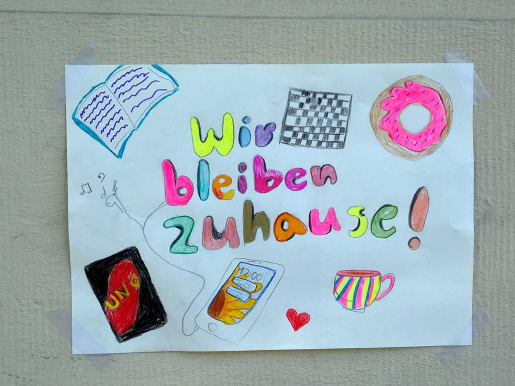 Corona in Frankfurt - Zettel - Wir bleiben zuhause
