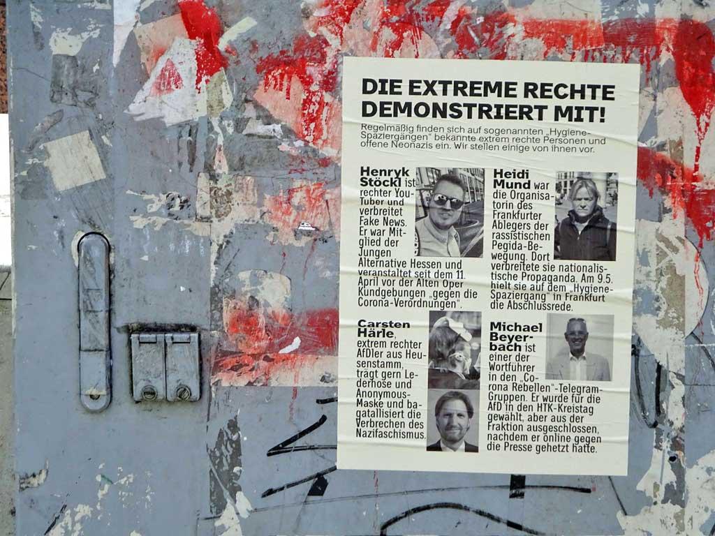 Flugblatt informiert über Teilnehmer der Hygiene-Spaziergänge