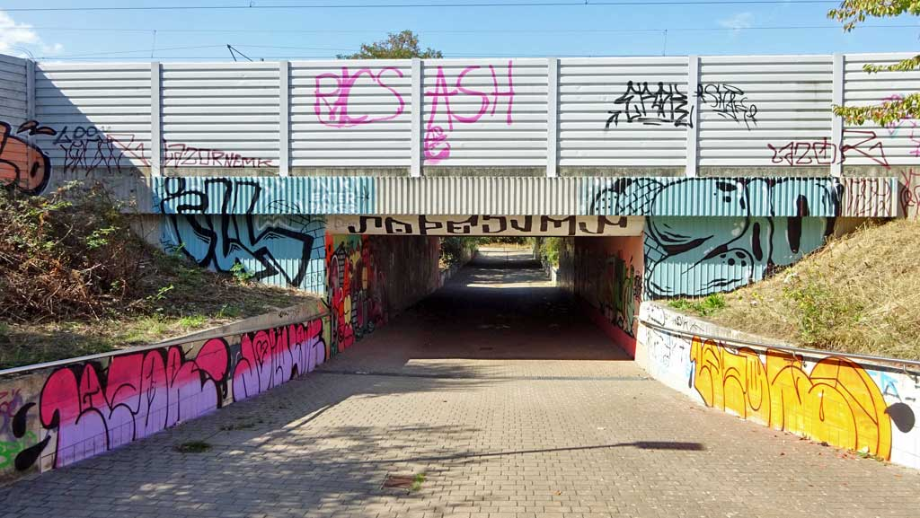 Graffiti an der Blütentunnel-Wall in Darmstadt-Arheilgen