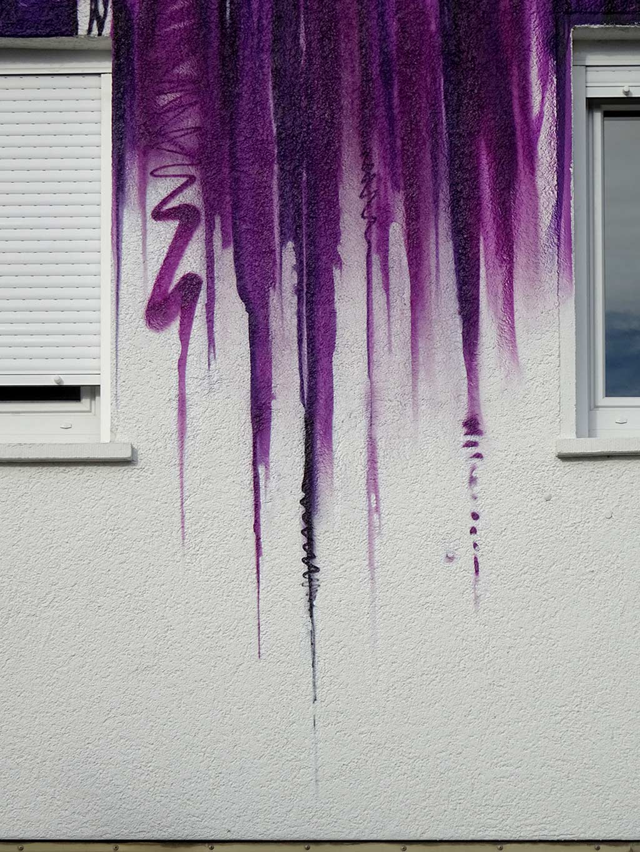 Detail der Wandgestaltung am B!RD-Haus in Frankfurt-Hausen