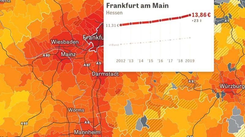 Deutschlandkarte zu den Mietpreisen