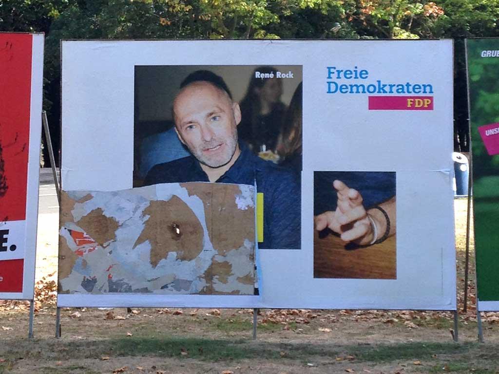 FDP-Wahlplakat mit René Rock