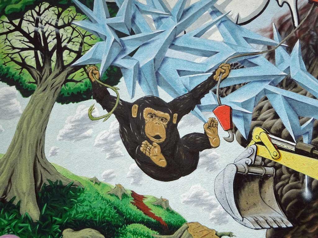 Streetart in Frankfurt-Ginnheim zeigt wie Mensch in Natur vordringt