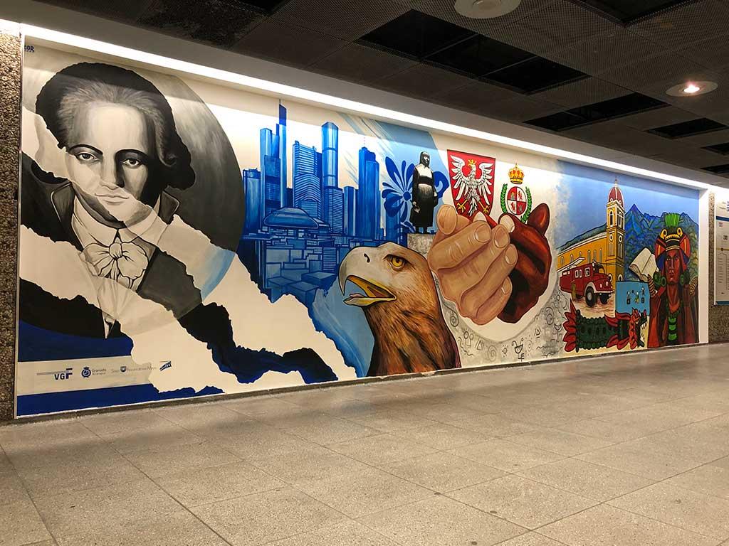 Frankfurt Granada Städtefreundschaft Wandbild in der Konstablerwache