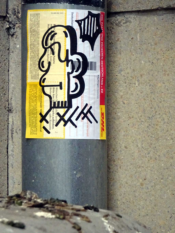 Treppe 1.OG - Aufkleber-Streetart in Frankfurt