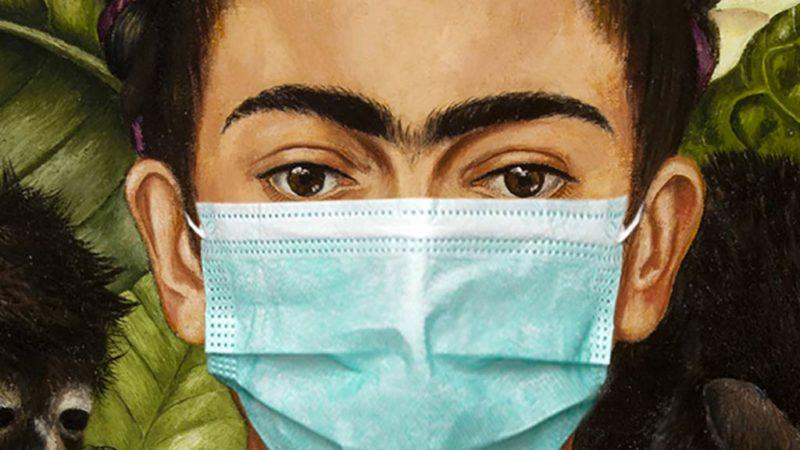 Coronavirus-Bildmontage mit Frida Kahlo
