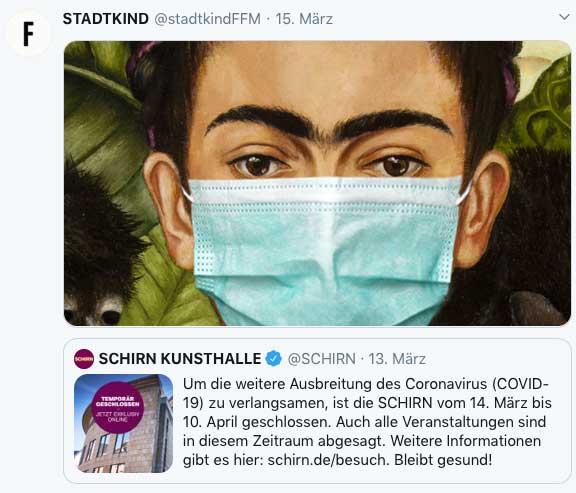 Frida-Kahlo-Motiv der Schirn Kunsthalle mit Schutzmaske