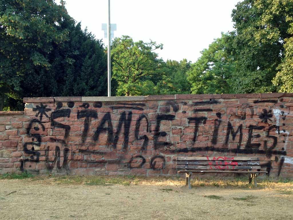 Nicht fertig gemaltes Graffiti mit Fehler