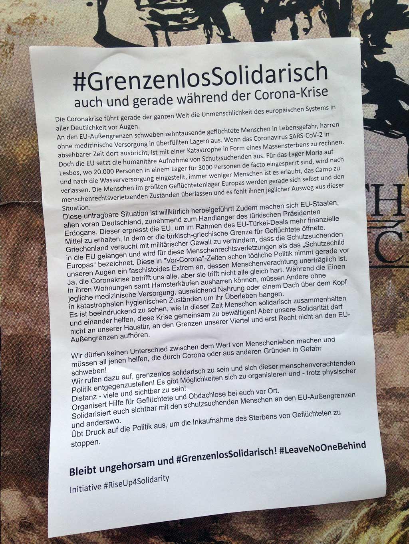 Politischer Protest zu Corona-Zeiten in Frankfurt - #GrenzenlosSolidarisch