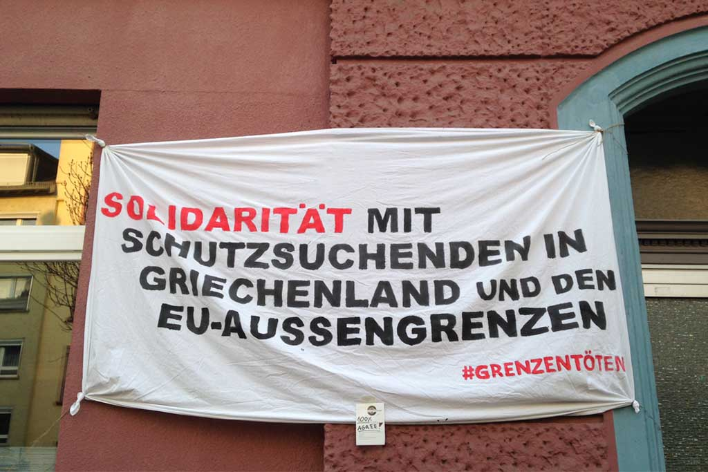 Politischer Protest zu Corona-Zeiten in Frankfurt - #Grenzentöten