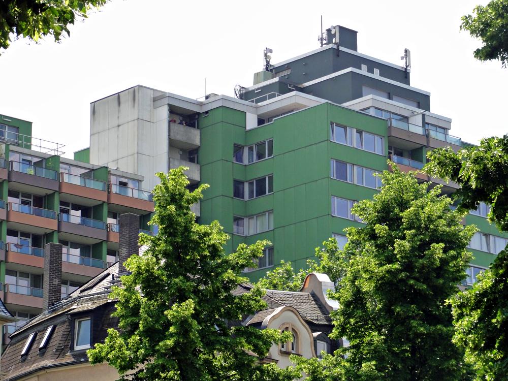 Das grüne Wohnhochhaus im Frankfurter Nordend