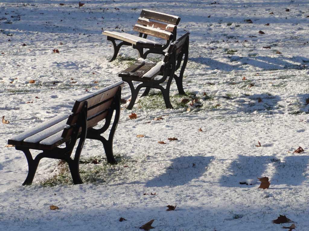 Licht, Schatten und Schnee im Günthersburgpark in Frankfurt