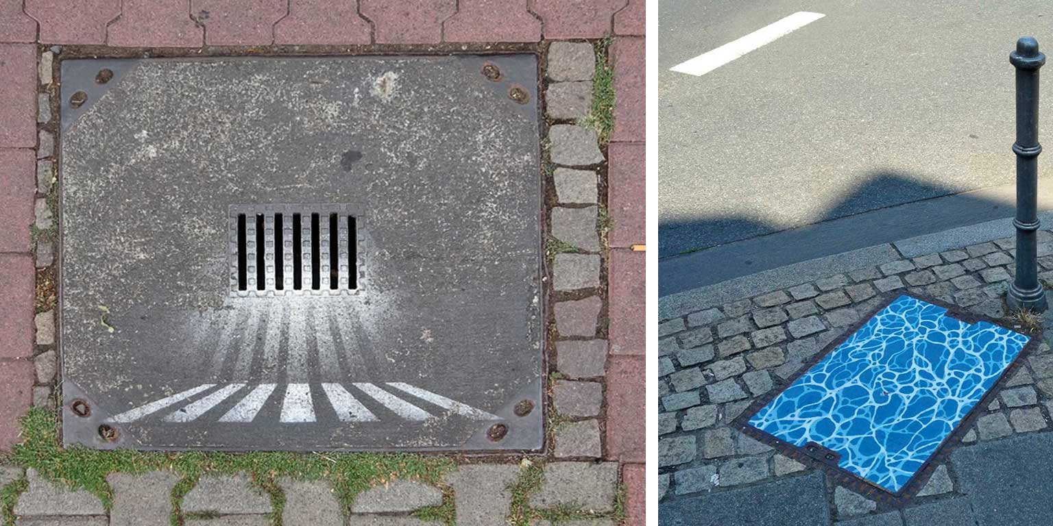 Gullydeckel-Street-Art in Frankfurt am Main