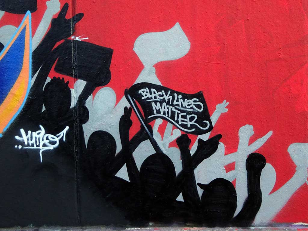 Black Lives Matter Graffiti Konzeptwand in Frankfurt