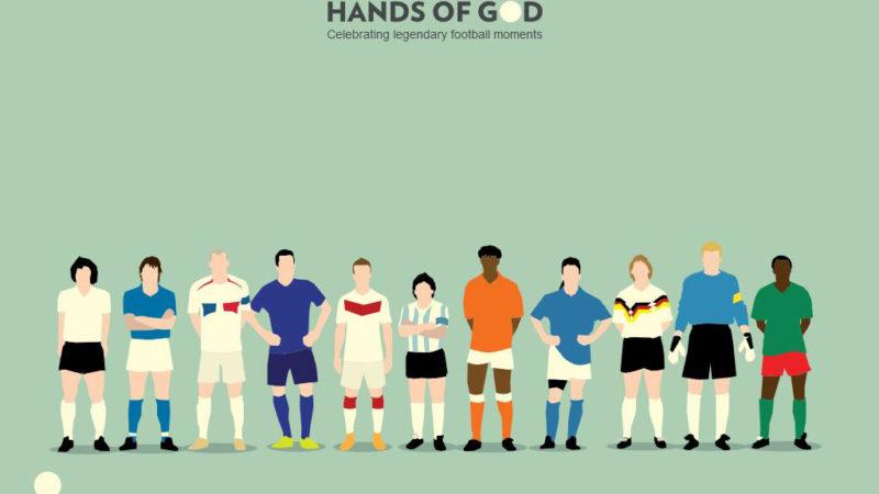 Fußball-Illustrationen von Hands of God