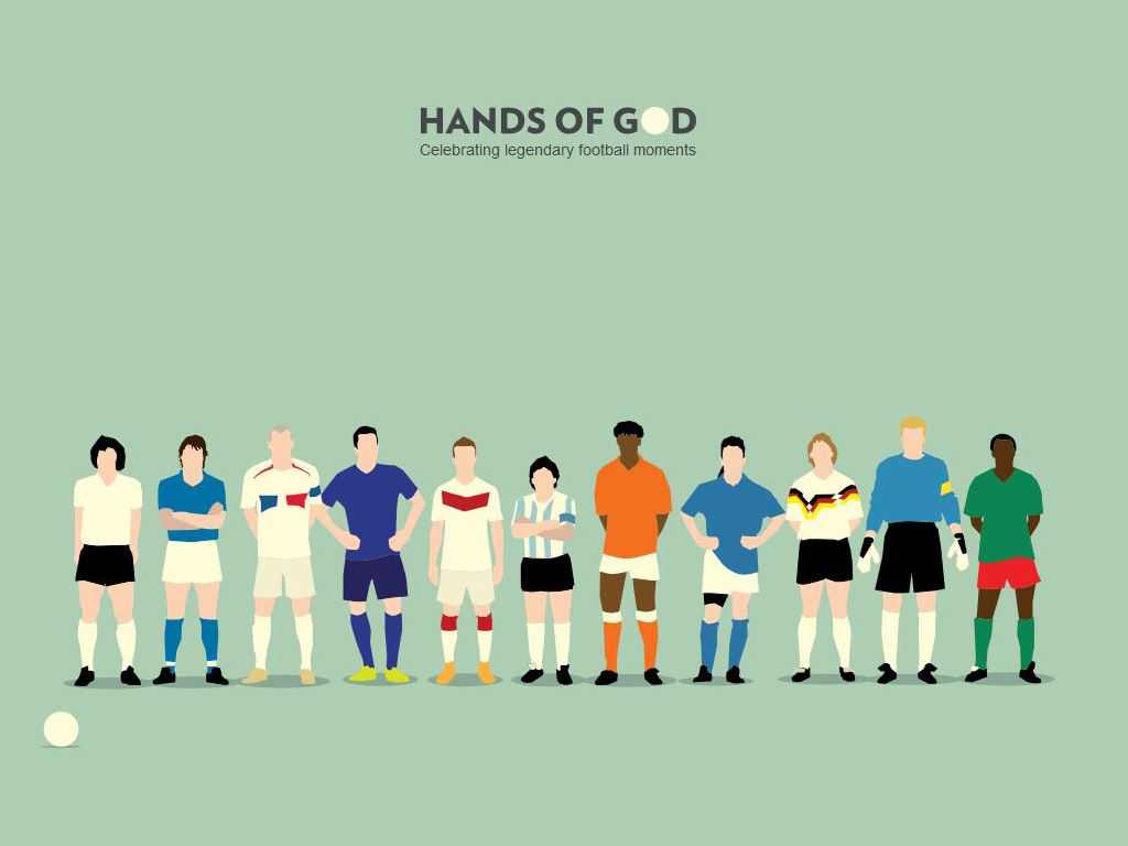 Fußball-Illustrationen von Hands of God