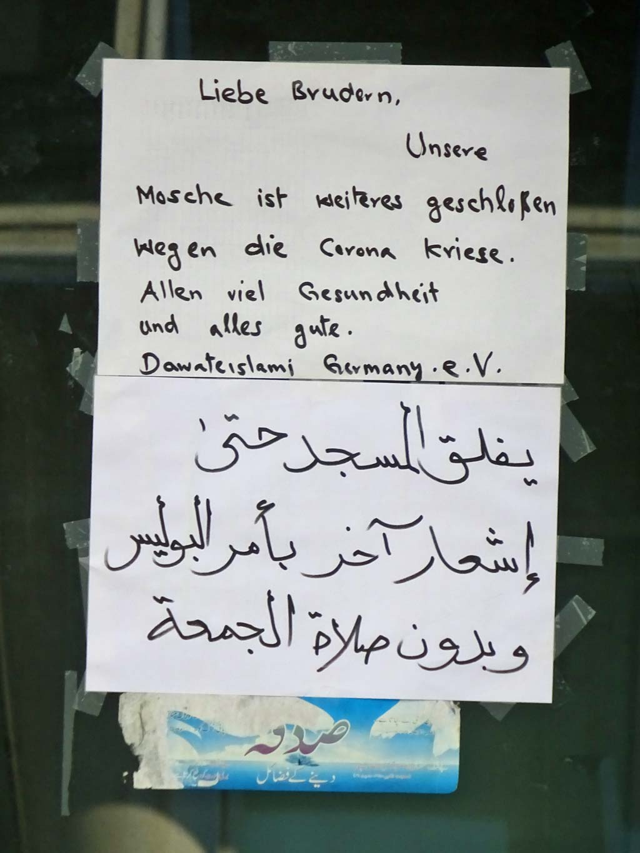 Corona-Hinweis bei Moschee in Offenbach