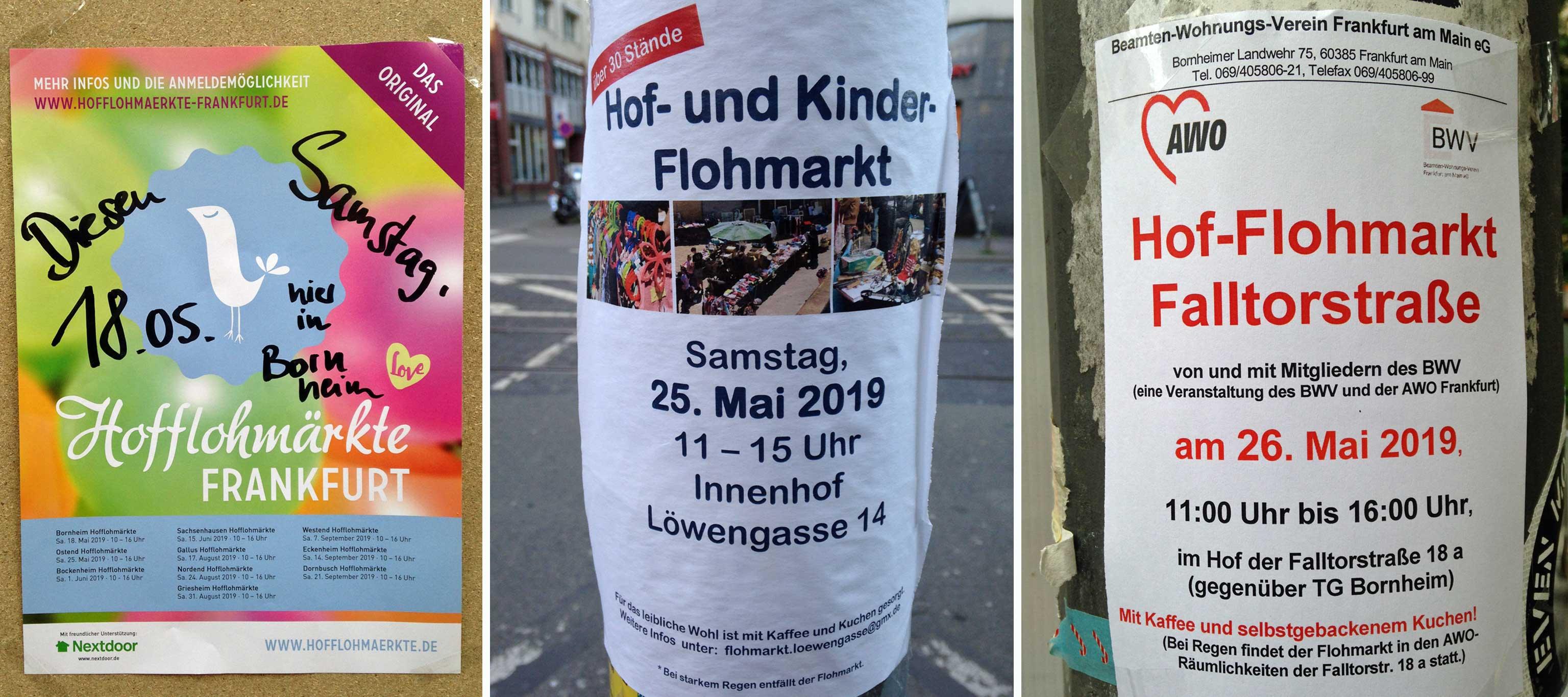 Hof-Flohmärkte in Frankfurt-Bornheim 2019