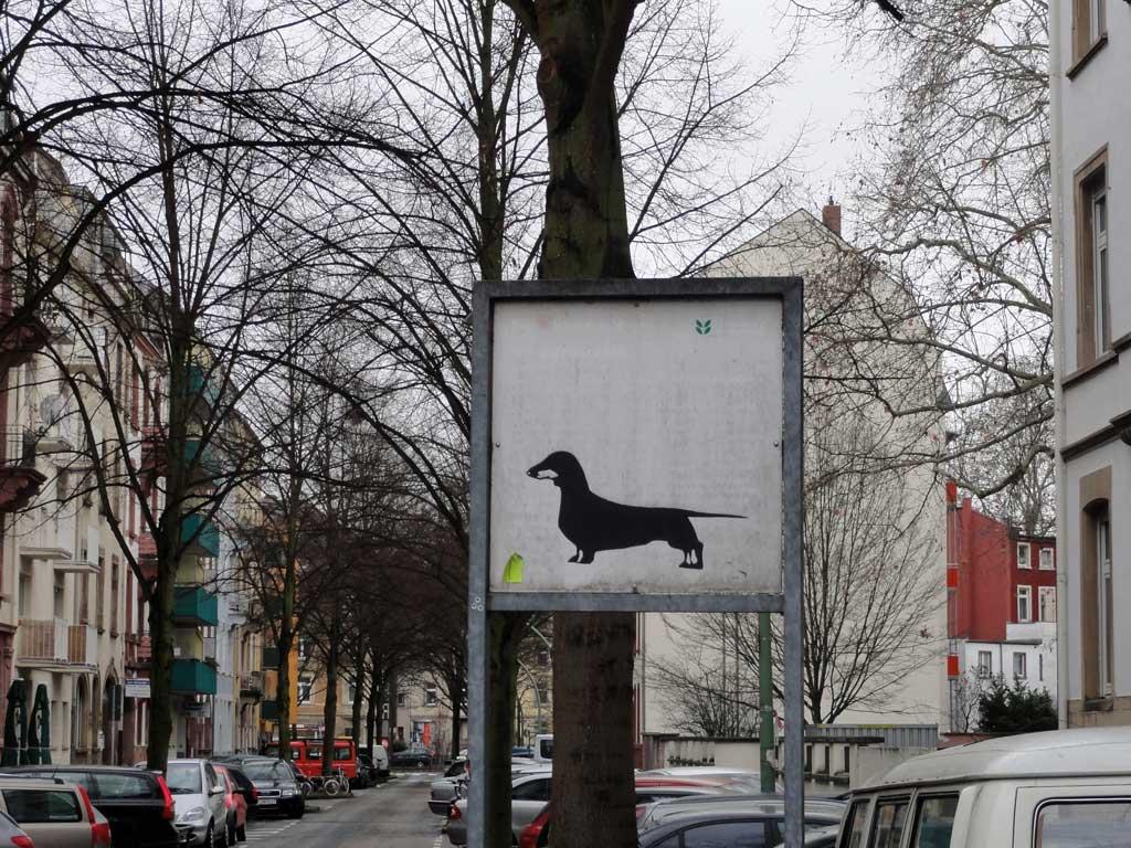 Streetart Aufkleber mit Hund