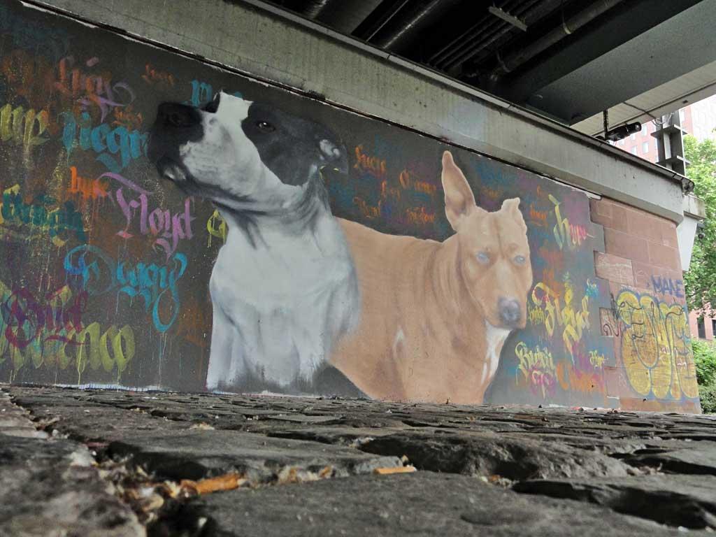 Graffiti von zwei Hunden