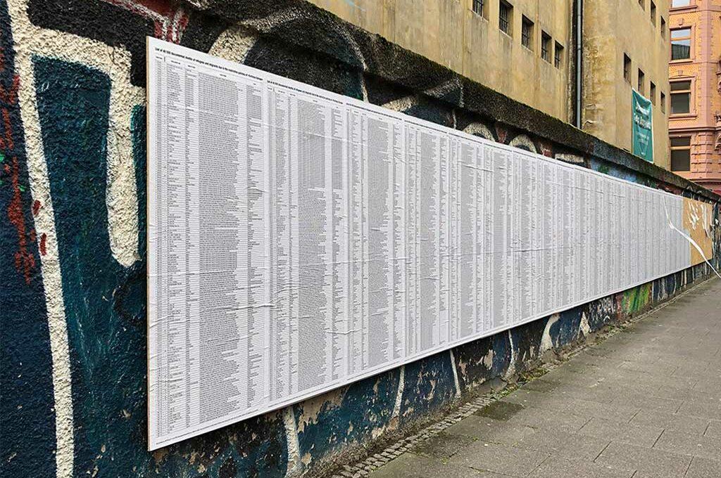Installation an der Außenwand der Klapperfeld in Frankfurt am Main