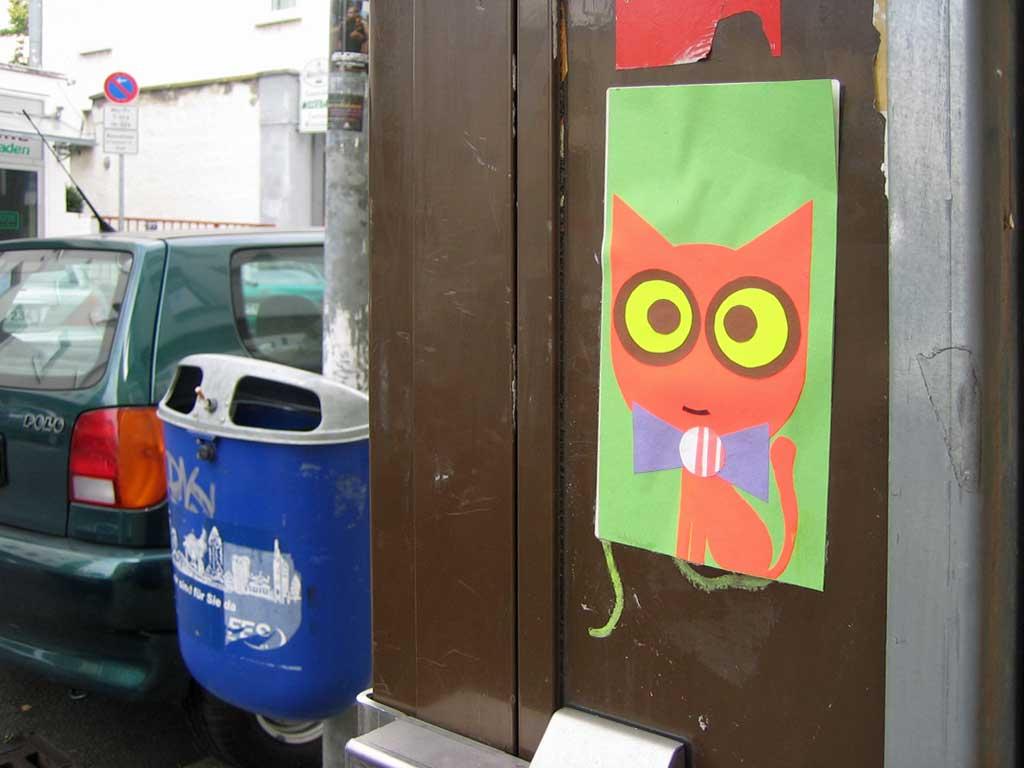 Streetart - Aufkleber mit Katze