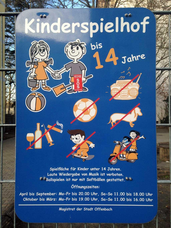 Mehr verboten als erlaubt - Kinderspielhof in Offenbach