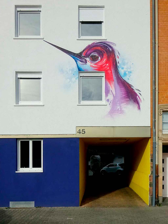 Kolibri an Hauswand in Hausen
