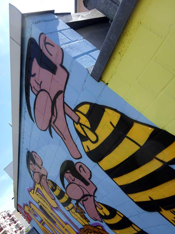 Daltons-Graffiti bei der Pizzeria Lucky Luke in Frankfurt Bornheim