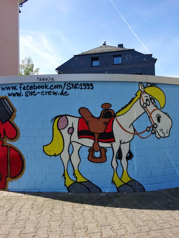 Jolly Jumper Graffiti bei Lucky Luke Pizzeria in Frankfurt Bornheim