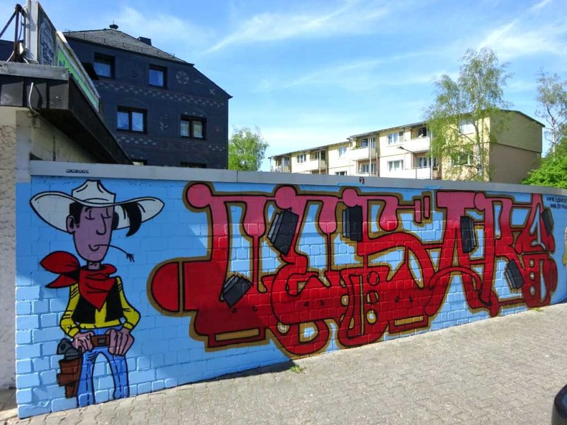 Mural bei der Pizzeria Lucky Luke in Frankfurt Bornheim