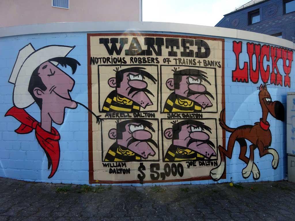 Wandkunst bei der Pizzeria Lucky Luke in Frankfurt Bornheim