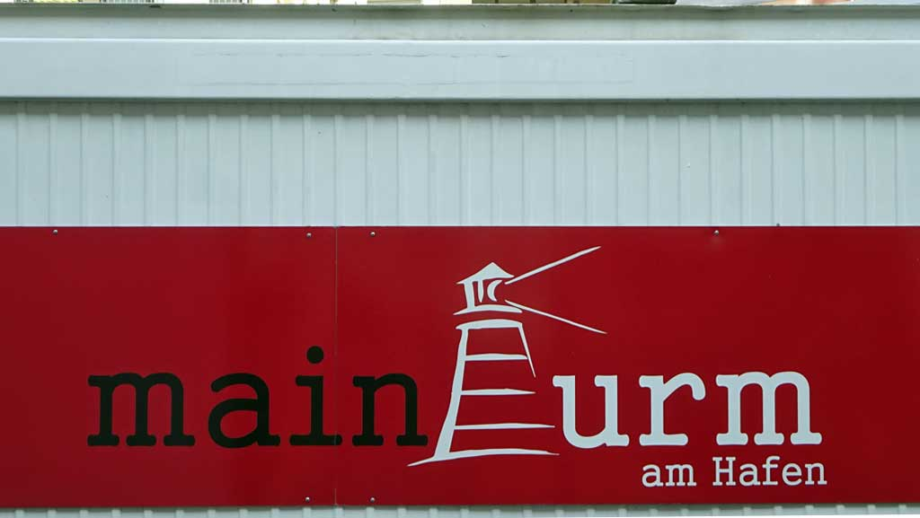 Typografie in Offenbach - Main Turm am Hafen