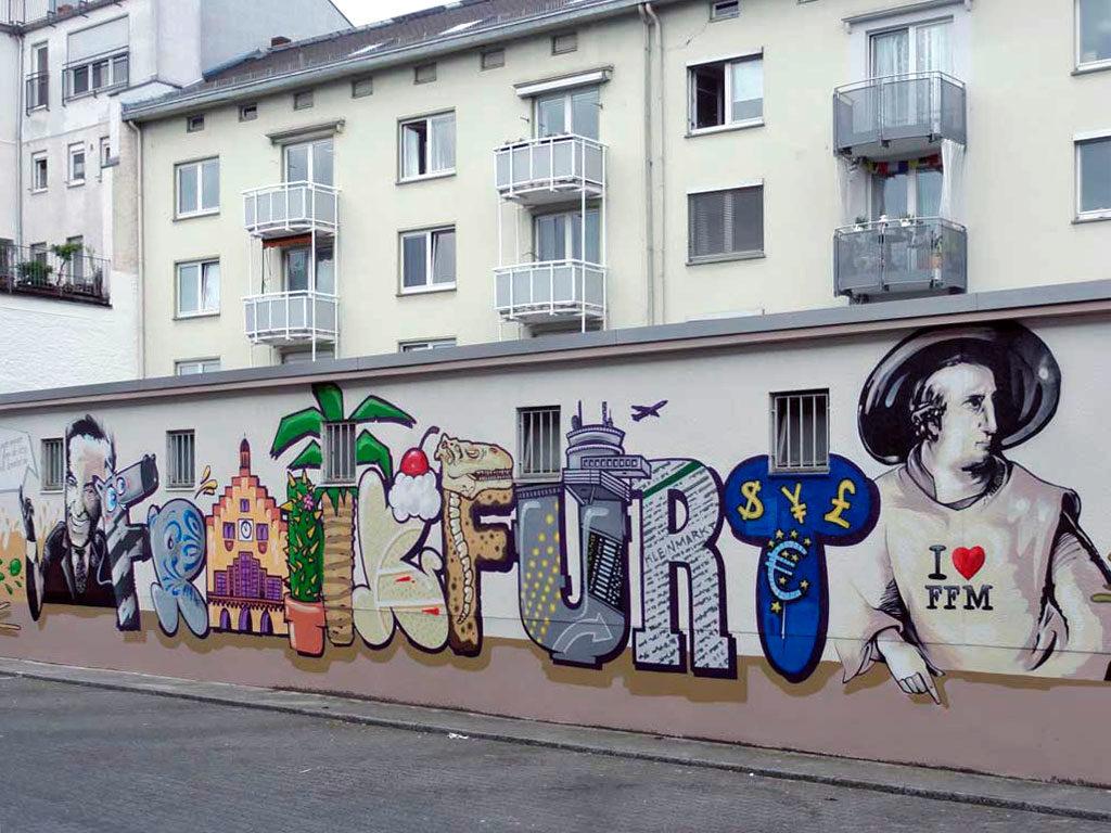 Graffitikunst an der Kleinmarkthalle in Frankfurt am Main