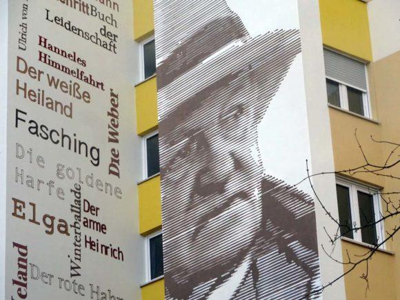 Mural in Frankfurt-Niederursel zeigt Portrait von Gerhart Hauptmann