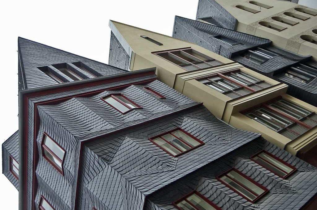 Vier Häuser in der neuen Altstadt von Frankfurt am Main