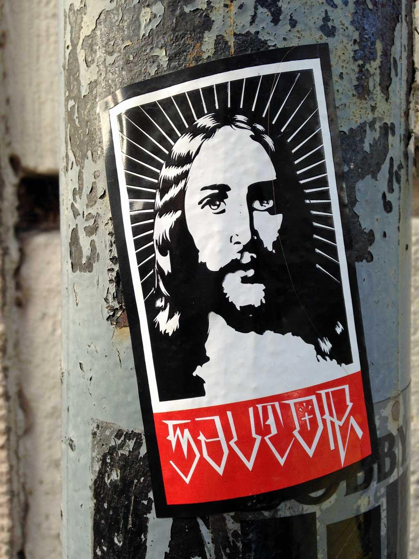 OBEY-Logo-Variante mit Jesusbild / Savior